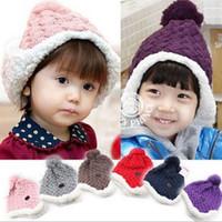 Boy baby cakes winter hats - 2012 Winter Baby LEyo Crochet hat Toddler Earcuff hat Rolled edge Boy s Gilrs cap kids Cake hat