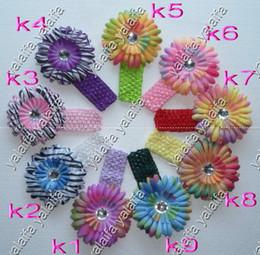 Wholesale 120pcs Inch Crochet Headbands Inch Rainbow Daisies Flower Hair Clips ioptww