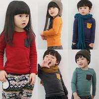 Wholesale Children autumn girls cute long sleeved pocket clothing T shirt lotng clothing T shirt