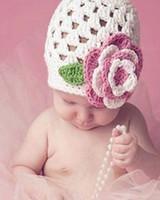 Unisex Summer Newborn Hat DHL free Hand Crochet Baby Flower Hat Spring Knitted Girls' Flower Cap Kids Infant Beanie ZZM16