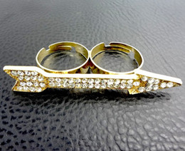 New Comming Gold Plated Rhinestone Crystal Arrow Double Finger Ring 1pcs lot Unisex jewelry