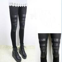 Women Skinny,Slim Other New Cotton Punk Leggings Knee Rivet Legwear Tights Pants Fashion Slim Thin Trousers Feet Women's Clothing