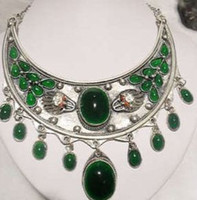 Joli vert Prix-jolie tibet argent marqueterie de jade vert collier