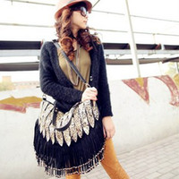 Wholesale 2015 New Fashion Bags Shoulder Messenger Bags For Women with Tassels Rope Leopard Peacock Black Khaki