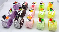 Wholesale Free Ship Mixed Kawaii Swiss Roll Cake Squishy Fridge Magnet Food Sweets Christmas Gift