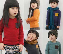 Wholesale Candy color T shirt boys T shirts blouses garment baby tshirts kids tees shirt tops jumpers