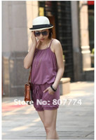 Cotton Blend Skinny Brandnew with hangtag Wholesale 2013 women Cotton jumpsuit pants sexy overall casual romper (Purple Black Green) mix order