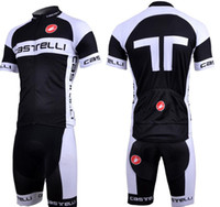 Wholesale 2011 CASTELLI Black White Team Short Sleeve Cycling Jersey Bib Pants Cycling Colthing Set S XXXL