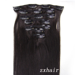 Wholesale 20 quot set Clip in hair remy Human Hair Extensions B