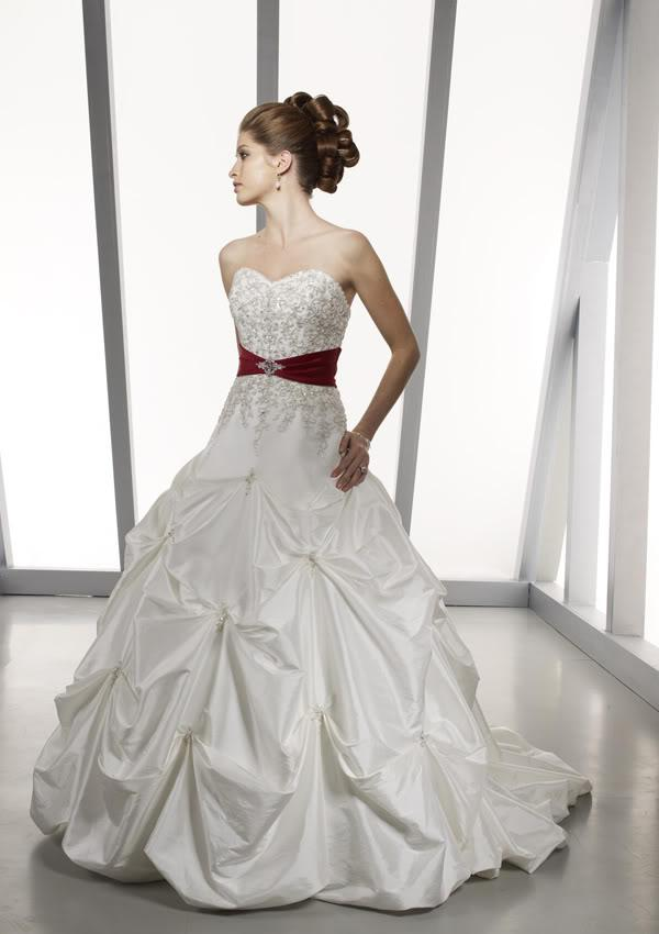 2012 sexy white red taffeta wedding dresses bridal gowns
