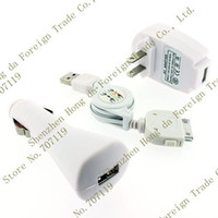 Wholesale AA25 Via DHL Retail Package USB Cable Car Charger Wall Charger For Apple iPhon