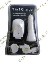 For Apple iPhone Direct Chargers Yes AA25 Via DHL Retail Package 100pcs USB Cable + 100pcs Car Charger + 100pcs Wall Charger For iphone