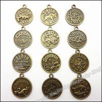 Wholesale Antique bronze Twelve constellations pendant zinc alloy jewelry accessories fashion craft findings