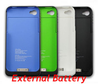 Cheap 1900mAh Rechargeable External Backup Battery Charger Case Cover for iphone 4 4S Mix Colors Low Price