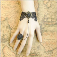 Women's beaded chain mirrors - Gothic Lolita BLACK lace bracelet mirror w chain ring Queen Costume Party