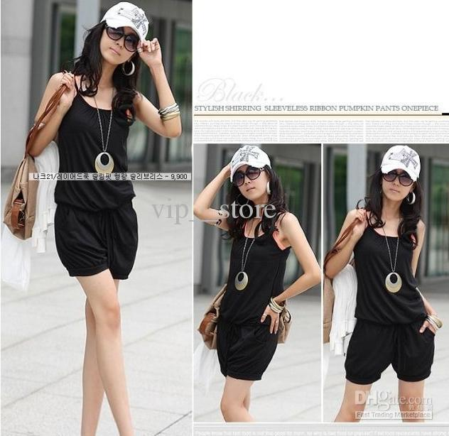 Wholesale - Women Fashion Sleeveless Romper Strap Short Jumpsuit Scoop