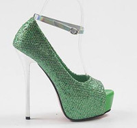 Wholesale 2012 Sexy Green Glittering Wedding Shoes Peep Toe High Platform Stiletto Dress Shoes Colors