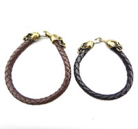 Wholesale Vintage Style Coffee Black Leather Chain Bronze Metal Skull Bracelet mix unisex jewelry