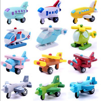 Wholesale Mini Funny Colorful Wooden Plane Models Toys With Small Wheels Helicopter Air Bus Best Gifts For Kid