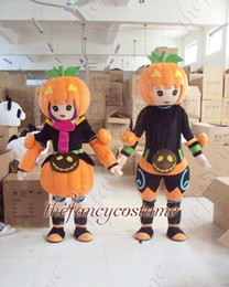 Wholesale adult size halloween pumpkin boy and girl mascot costume character costume party outfit