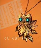 Golden Leaf Owl Necklace Europe Wind Green Gums Restore Anci...