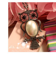 Owls Pearl Necklace Hollow Out Bohemian Restore Ancient Ways...