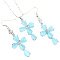 Jade blue jade earrings - brand new Silver alloy jade Cross jewelry sets women s necklace pandent earirng set SSS
