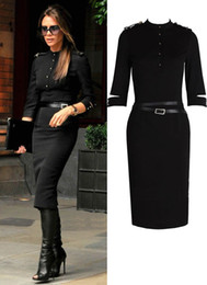 Wholesale Fashion office lady long sleeve Military uniform slim dresses work dress