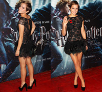 Short/Mini beads film - Emma Watson Sheath Little Black Dress Beaded Lace Colorful Feather Cocktail Dresses Celebrity Gown