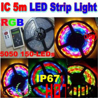 Wholesale Dropship M RGB LEDs Meter IP67 IC waterproof flexible LED strip Remote Controller