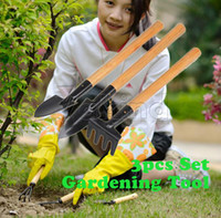 Wholesale 3pcs Mini Plant Garden Tools With Wooden Handle Tool Set Gardening Shovel Rake
