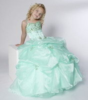 Wholesale Toddler Dresses Cheap Green Customized Formal Occasion Gown Spaghetti Strap Ruffled Beaded Gown Flower Girl Dress Girl s Pageant Dress
