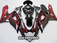 body kit - Red flame body fairings kit for GSX R1000 K5 GSXR1000 GSXR windscreen
