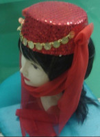 Wholesale 2012Halloween Cap Stage Princess Show Hats Dance Hat Red Silk hat Gold Sequins Masquerade party Caps
