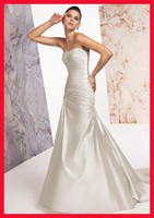 Reference Images Strapless Elastic Satin 2012 new Stretch satin strapless lace pleated sweep a-line wedding dresses 276