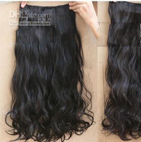 Wholesale Natural Black B Hair Extension Clips On sexy stylish Women s Long Curl Curly Wavy W002