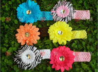 Wholesale Crochet head band girls Hair Accessories baby hair bow clip flower Crochet Headband clipper