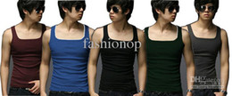 Wholesale 2012 New Style Men s Tank Tops Pure Cotton Vests Cotton Colors Summer Hurdle Vest YNK1