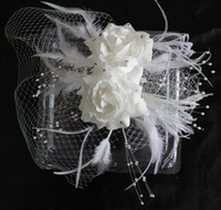 Wholesale In Stock White Wedding Hats Birdcage Face Veil Bridal Flower Feathers Fascinator