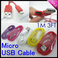 10 colors 1M For Samsung Colorful Micro USB Charger Cable 1M 3FT Universal Cord Lead for HTC ONE X Samsung Galaxy S3 S4 NOTE 2 NOTE 3 S5