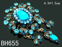 Wholesale hot sell America style fashion Zinc alloy rhinestone flower Vintage Brooches pendant mixed color BH655