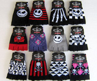 Wholesale New Pairs Striped Skull Rose Unisex Print Elastic Half Finger Gloves Fashion Gift