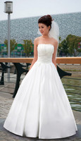 Chapel big pearls drops - Fashion Satin A Line Strapless Wedding Dress Embrodery Big Bow Bride Gown Dress Princess Style