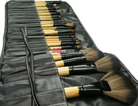 Wholesale 32pcs Pro Cosmetic Tool Makeup Brush Set Kit With Roll Up Black Faux Leather Bag Case have color