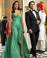 Wholesale Paula Patton in one shoulder green chiffon dress in mission impossible ghost protocol EWL223