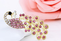 Wholesale Fashion Jewelry Crystal Brooches peacock pins pink rhinstone brooches