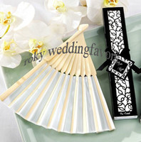 silk fans favors   50pcs lot!Wedding Favors-Elegant silk fan favors with laser cut gift box,white Black silk fan favors