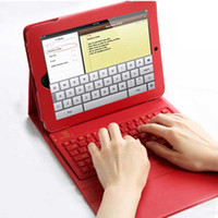 Wholesale Wireless Bluetooth QWERTY Keyboard Leather Case for New iPad iPad Waterproof and Dustproof