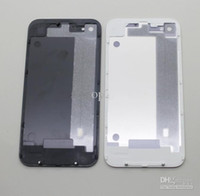 Wholesale Back Glass Battery Housing Door Cover Replacement Part Black White for iphone G EMS free