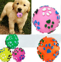 Wholesale Dogs talking toys color rubber pet toys pet footprints resistant bite hollow ball